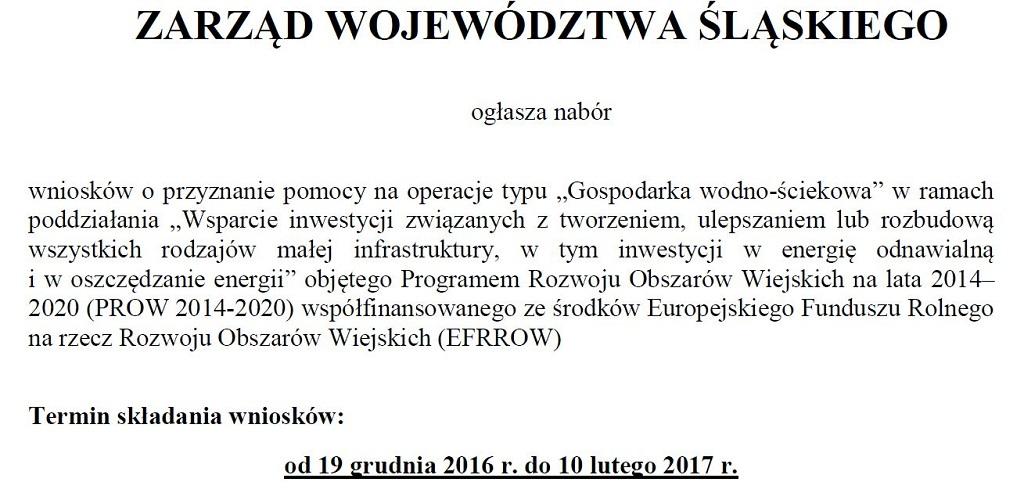 """Nabór wniosków na operacje typu """"Gospodarka wodno-ściekowa"""""""