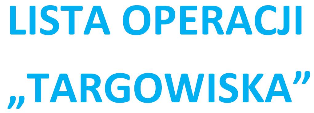 Lista operacji informująca o kolejności przysługiwania pomocy dla targowisk